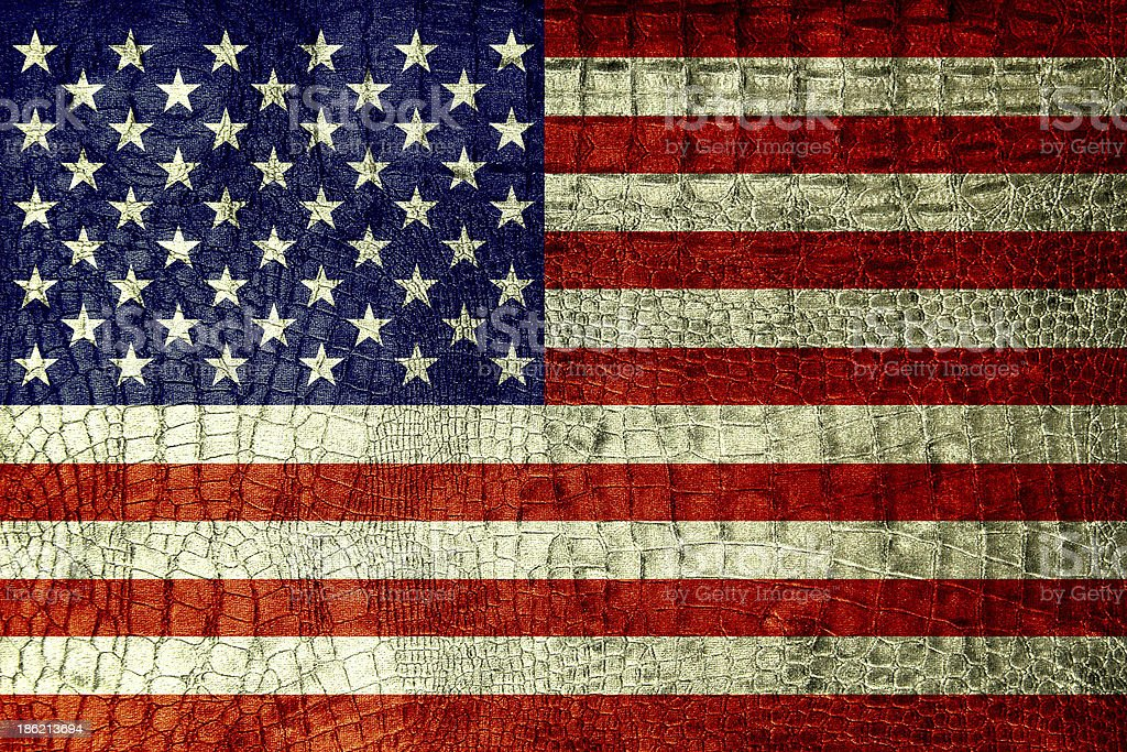 USA Flag on luxury crocodile texture or background stock photo