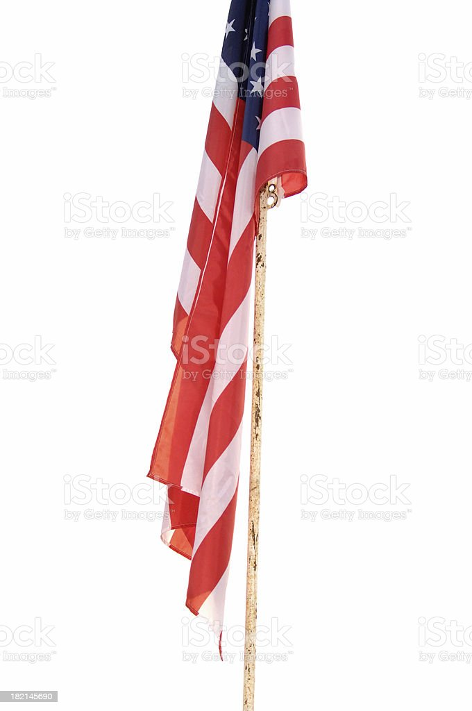 Flag On Old Pole royalty-free stock photo