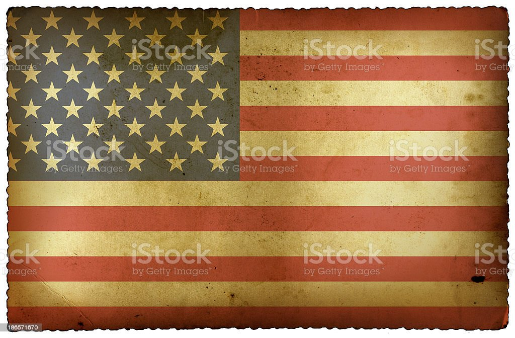 USA Flag on old postcard royalty-free stock photo