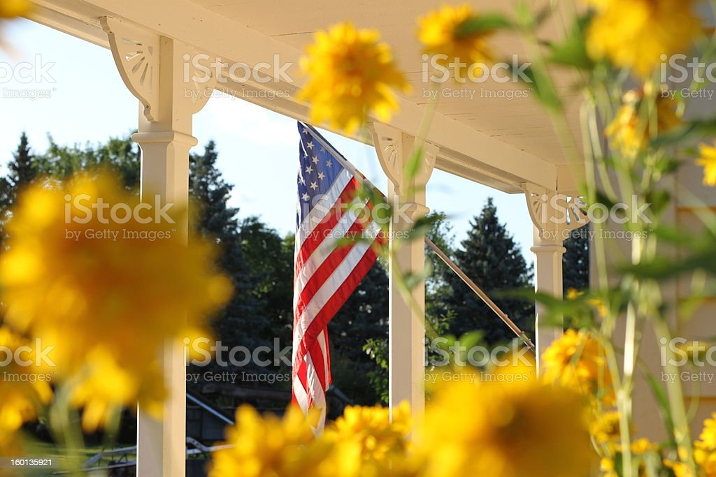 US Flag On Porch stock photo