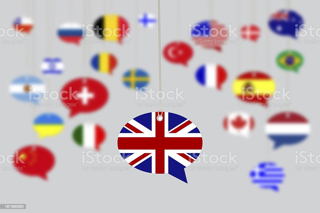 BRITISH Flag on Speech Bubble with Other Flags stock photo