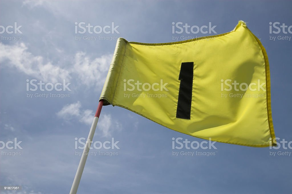 Flag on the first hole stock photo