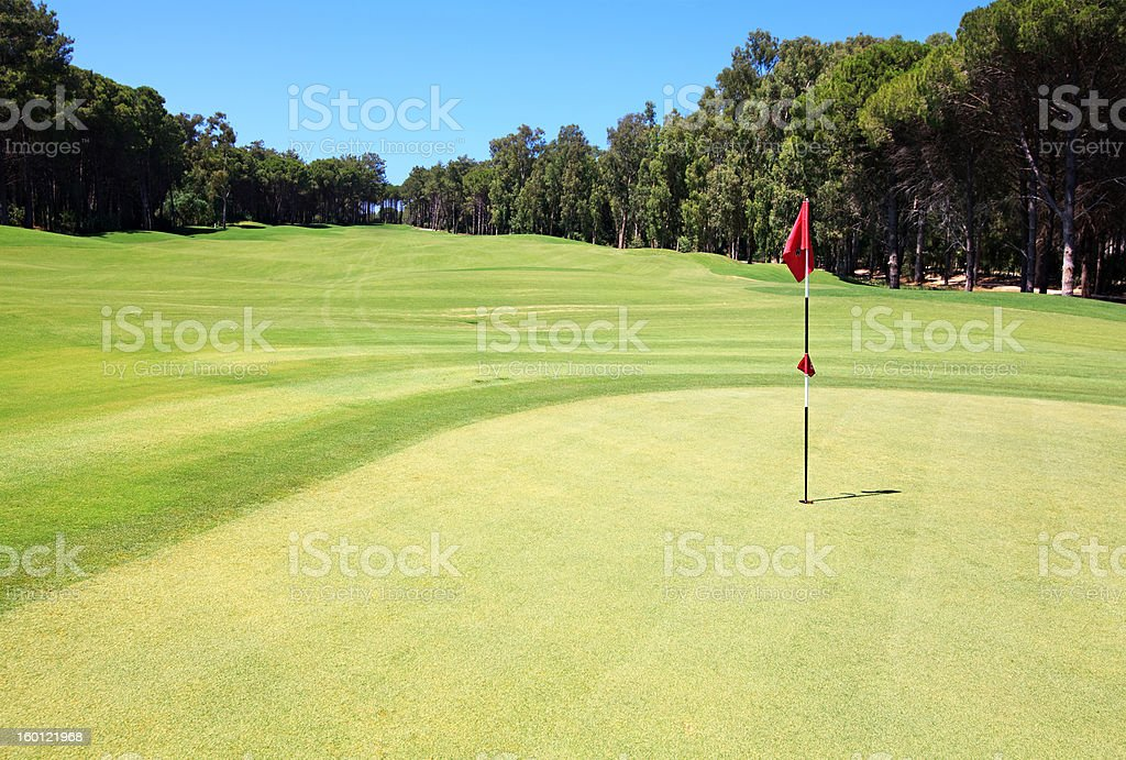 Flag on the golf course. royalty-free stock photo