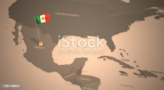 Vintage Map and Flag of South America, Latin American Countries Series 3D Rendering