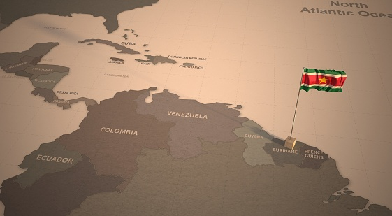 Vintage Map and Flag of Countries Series 3D Rendering