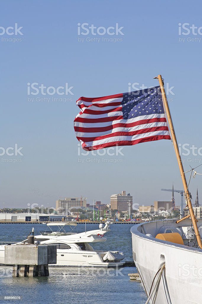 US flag on the yacht background royalty-free stock photo