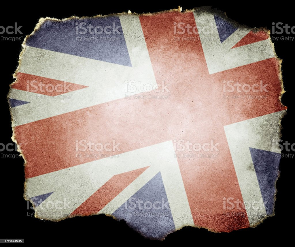 UK Flag on Torn Paper (Clipping Path; XXL) royalty-free stock photo
