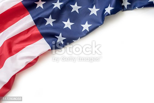 579407234 istock photo USA flag on white background with copy space 1172508033