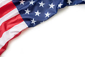 Image of American flag on white background with copy space.