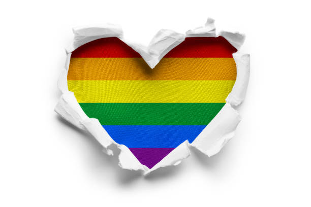 LGBT flag on white Heart shaped hole torn through paper, showing satin texture of flag of LGBT. Isolated on white background lgbtqi people stock pictures, royalty-free photos & images