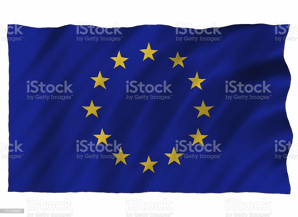EU 3D flag on white stock photo
