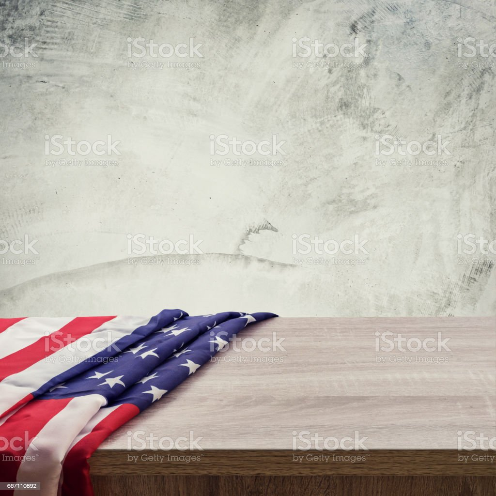 USA flag on wood cement wall background and texture stock photo