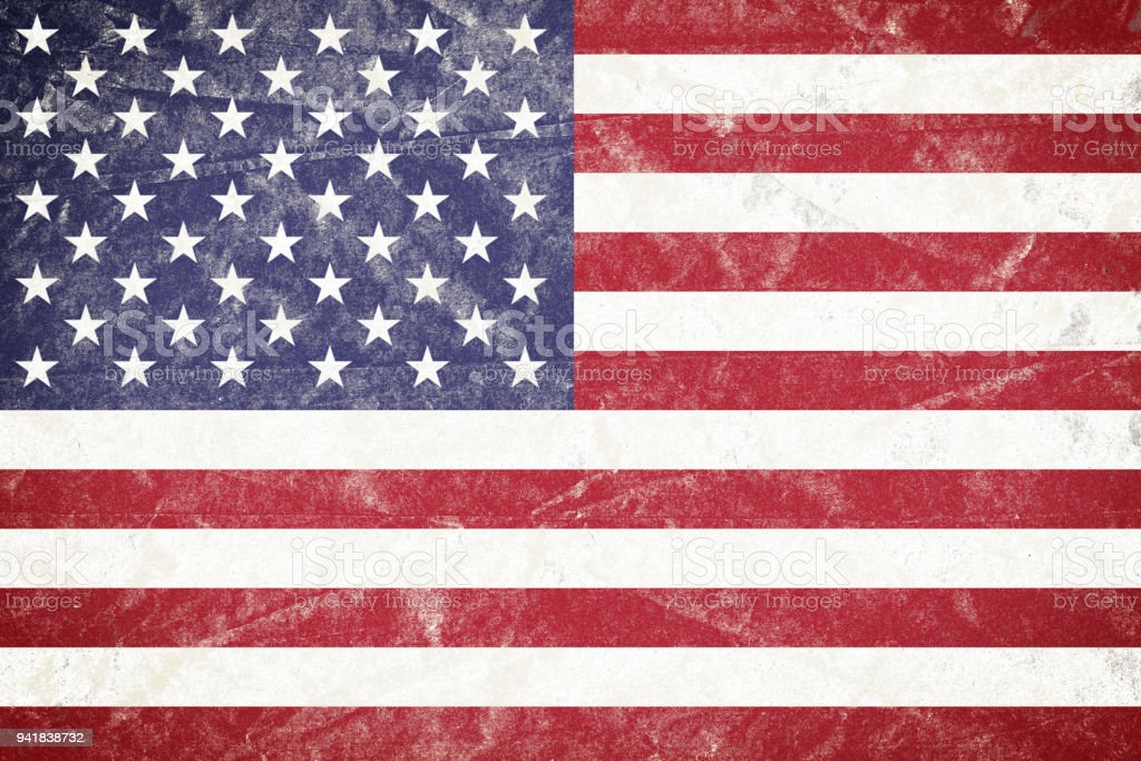USA Flag on Wrinkled Crumbled Grunge Paper Poster stock photo
