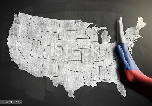 RUSSIA flag over hand STOP SIGN with blackboard USA MAP / Flag concept (Click for more)
