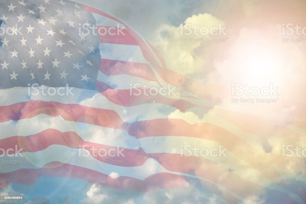 Usa Flag Overlay On Afternoon Cloudy Sky Stock Photo