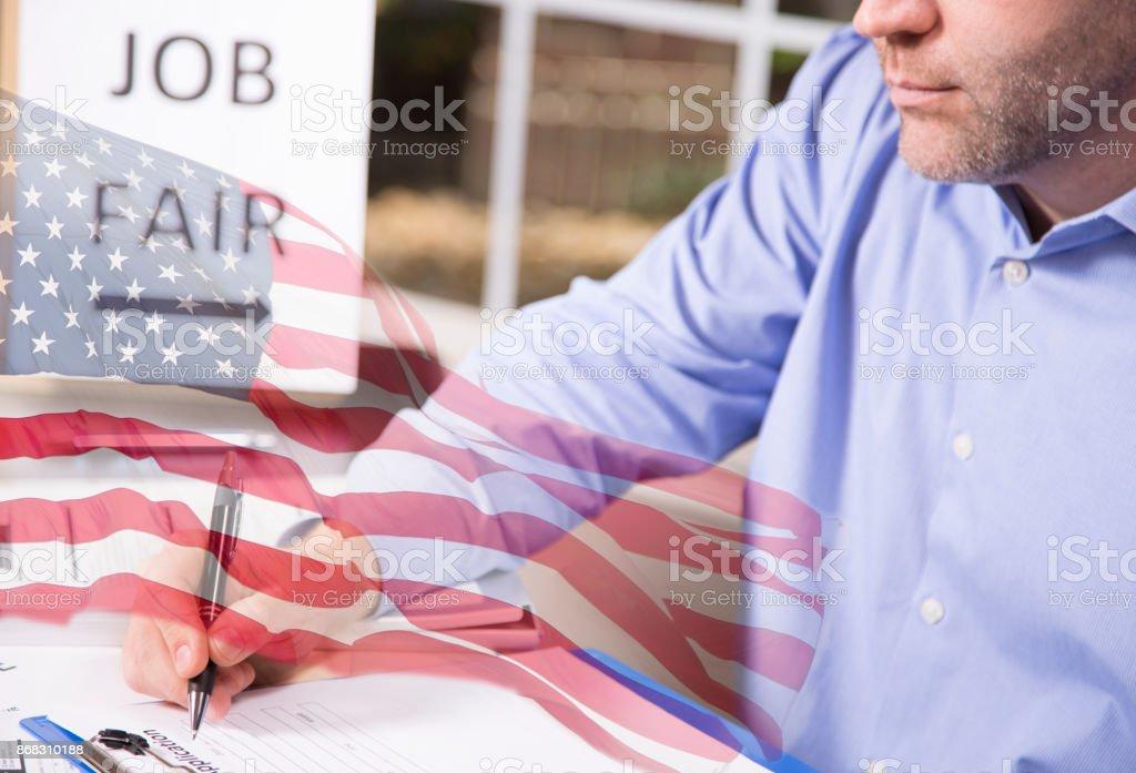 Usa Flag Overlay On American Worker At Job Fair Stock Photo