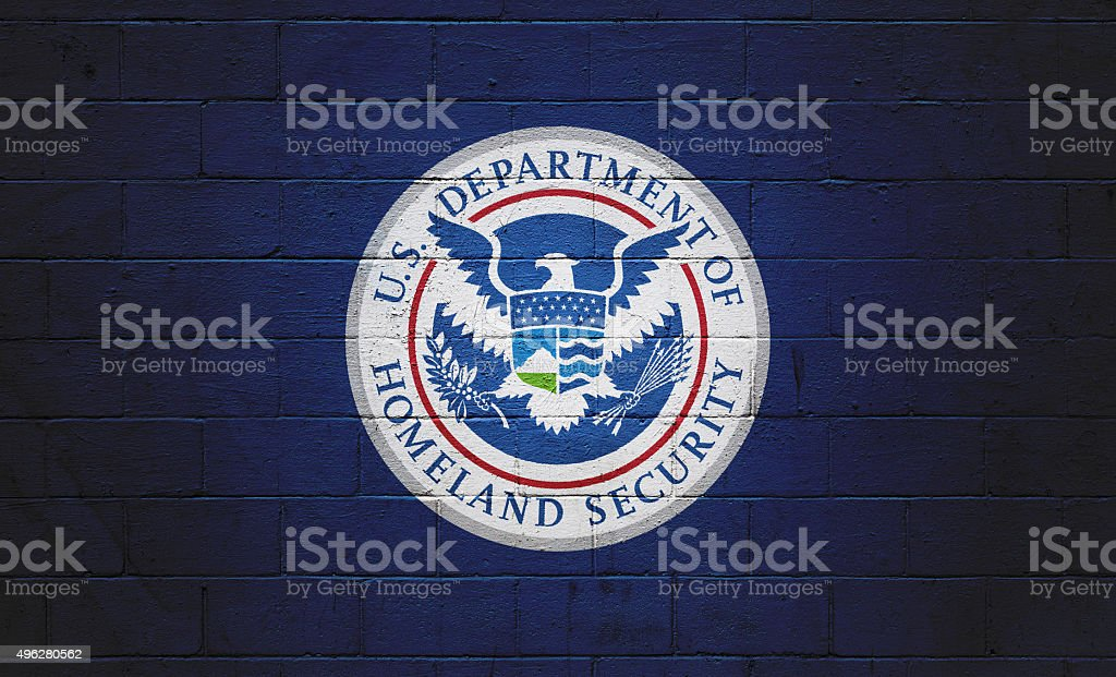 DHS Flag painted on a wall Picture of a the  2015 Stock Photo