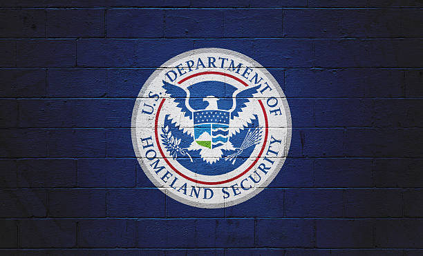 DHS Flag painted on a wall stock photo