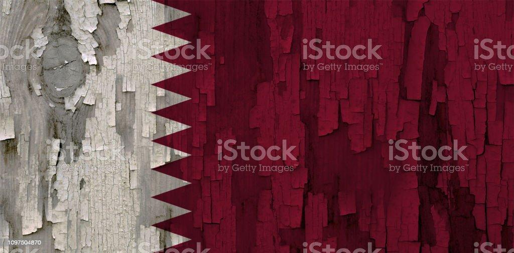 Bandera Qatar pintado sobre una superficie de madera - foto de stock
