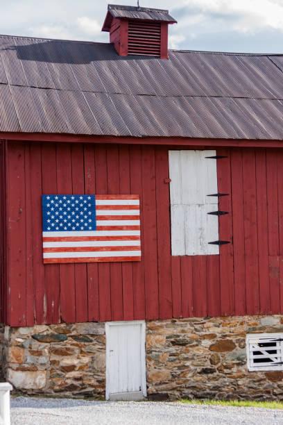 Flag painted on barn stock photo