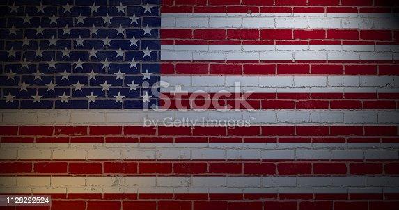 450754061istockphoto US flag  painted on brick wall. 3d illustration 1128222524