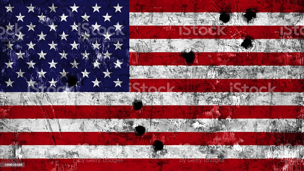 USA flag painted on metal with bullet holes stock photo