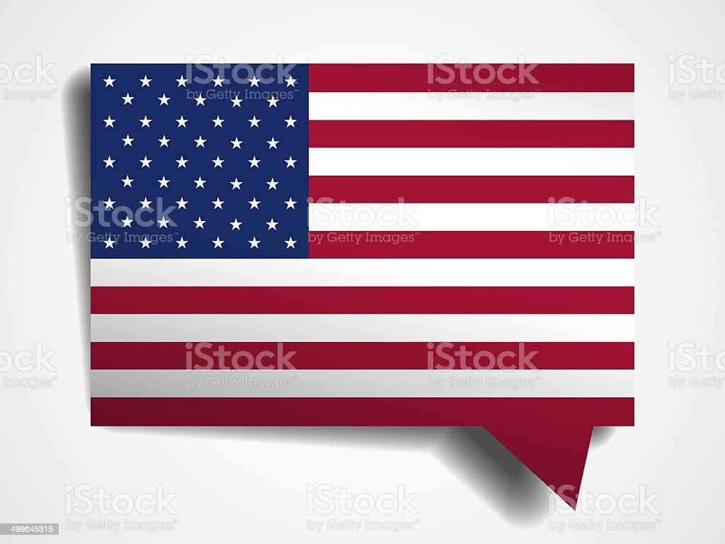 Usa Flag Paper 3d Realistic Speech Bubble On White Background Stock