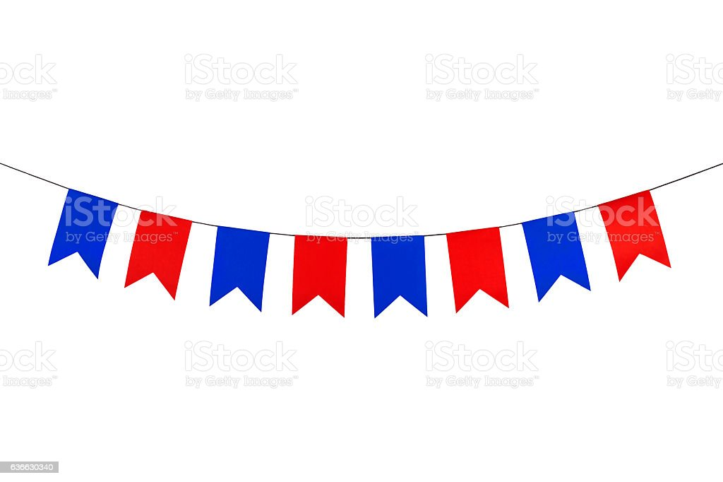 Flag papers red and blue hanging on the rope. - foto de stock