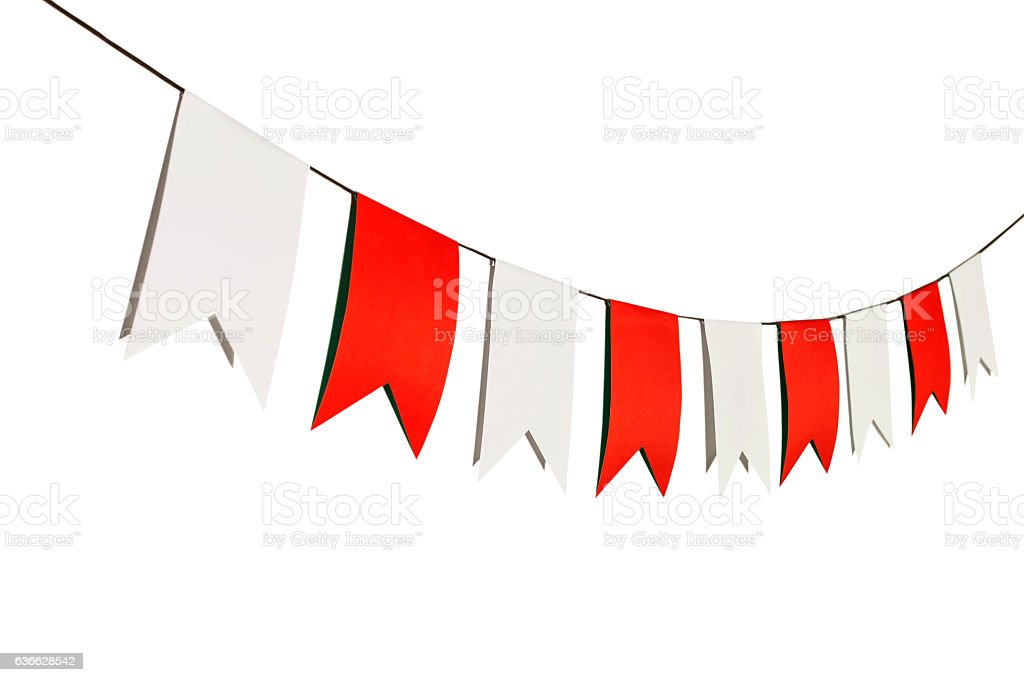 Flag papers white and red hanging on the rope. - foto de stock
