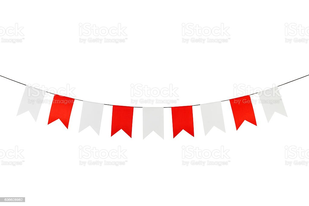 Flag papers white and red hanging on the rope. stock photo