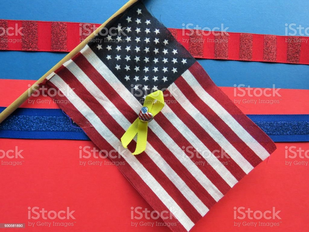 USA flag & patriotic buttons, medals, heart pin stock photo