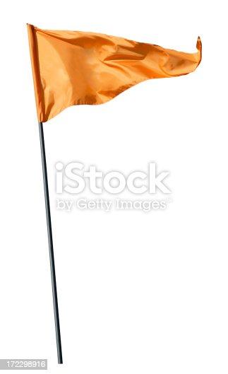 Flag on pole,isolated on white