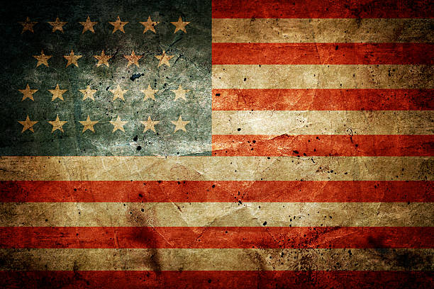 USA flag Grunge dirty flag of United States of America distressed american flag stock pictures, royalty-free photos & images