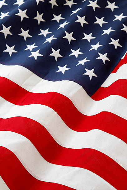Flag Closeup of ruffled American flag american flag photos stock pictures, royalty-free photos & images