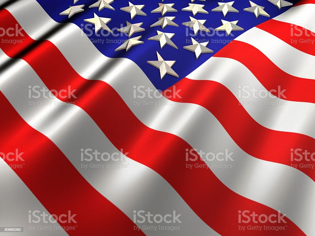 3D US Flag royalty-free stock photo