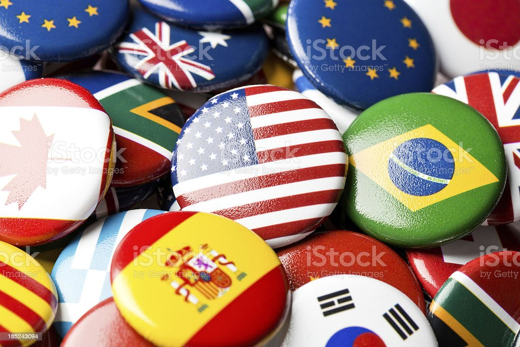 USA flag pin in international collection stock photo