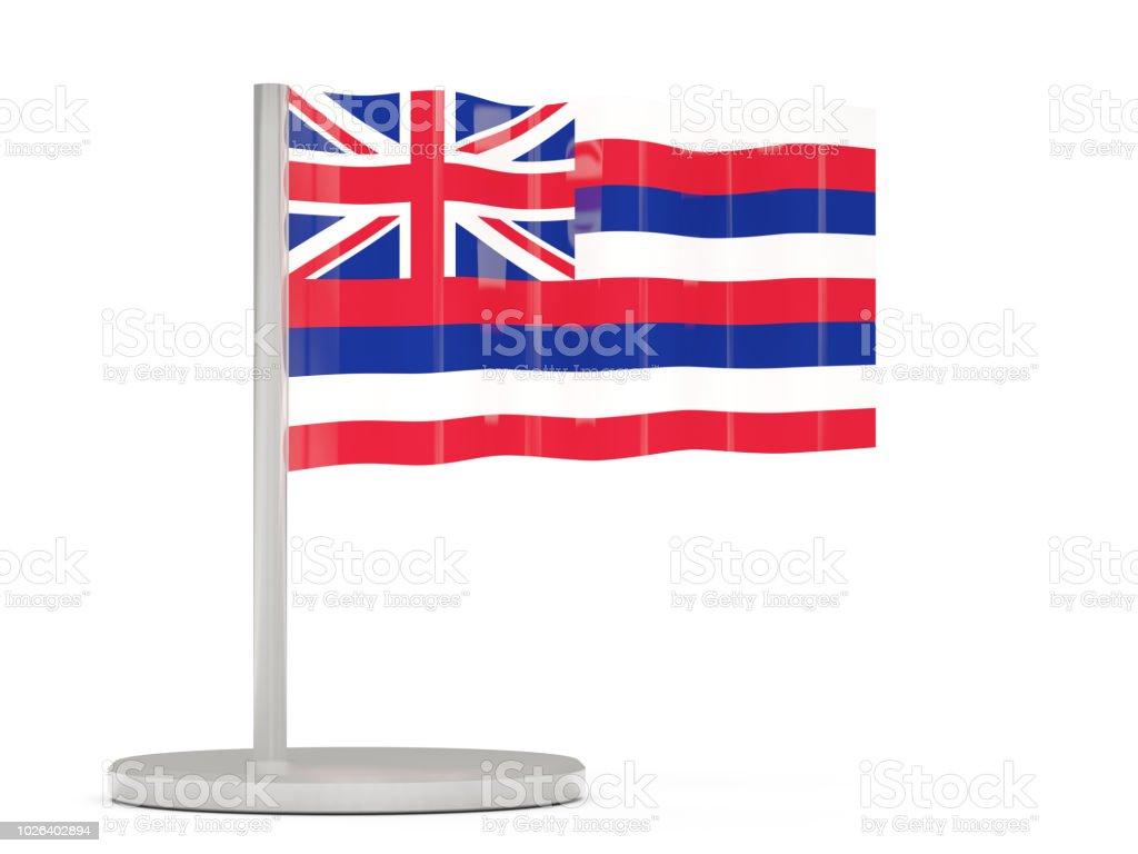 Pin bandeira com a bandeira do Havaí. Bandeiras de locais dos Estados Unidos - foto de acervo