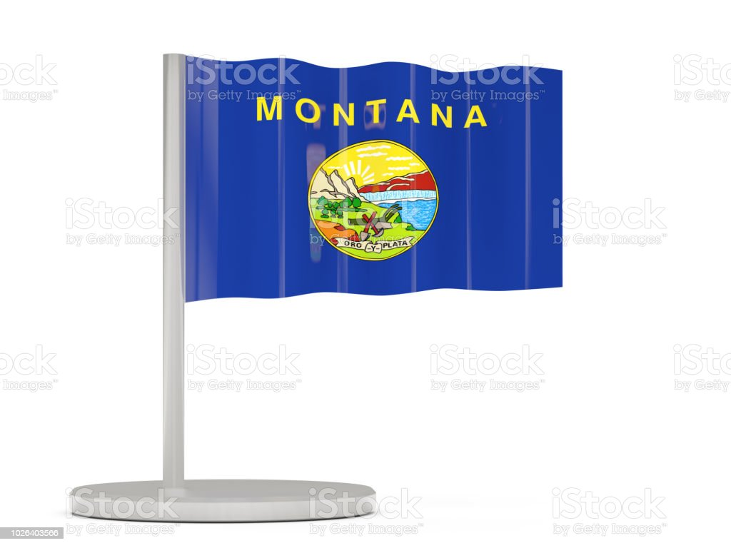 Pin bandeira com a bandeira da montana. Bandeiras de locais dos Estados Unidos - foto de acervo