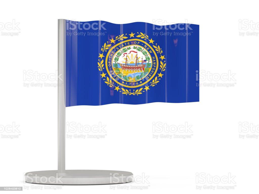 Pin bandeira com a bandeira de new hampshire. Bandeiras de locais dos Estados Unidos - foto de acervo