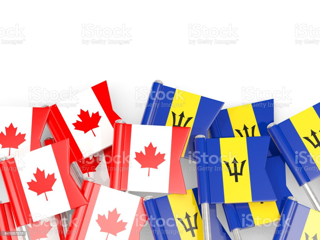 Flag pins of Canada and Barbados isolated on white stock photo