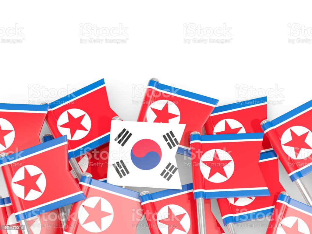 Flag Pins Of North Korea And South Korea Stock Photo More Pictures