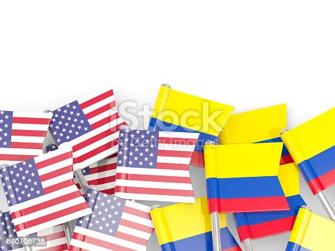 istock Flag pins of USA and Colombia isolated on white. 3D illustration 840708738