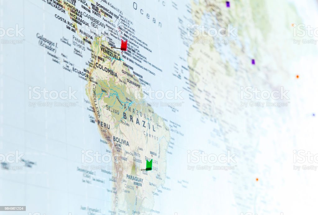 Flag pins on world map with focus on south america stock photo flag pins on world map with focus on south america royalty free stock photo gumiabroncs Images