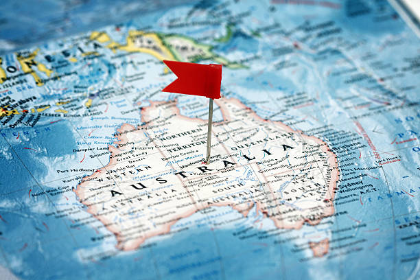 Flag  pointing  Australia stock photo