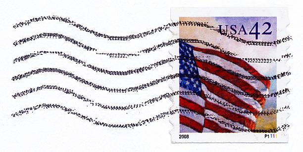 USA Flag Postage Stamp stock photo