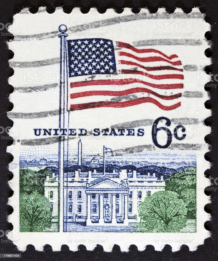 USA flag postage stamp royalty-free stock photo
