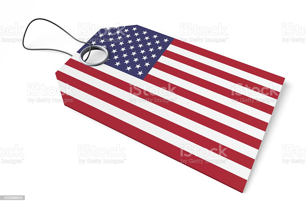 3D flag -  price tag - made in the USA stock photo