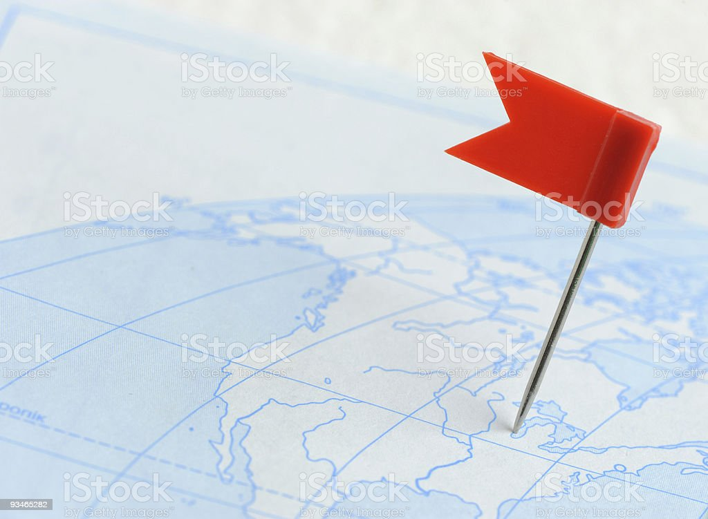 Flag red a pin on map stock photo