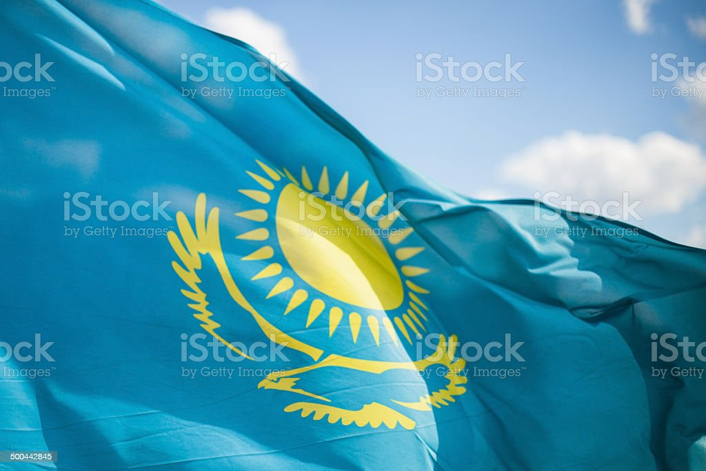Flag Republic of Kazakhstan stock photo