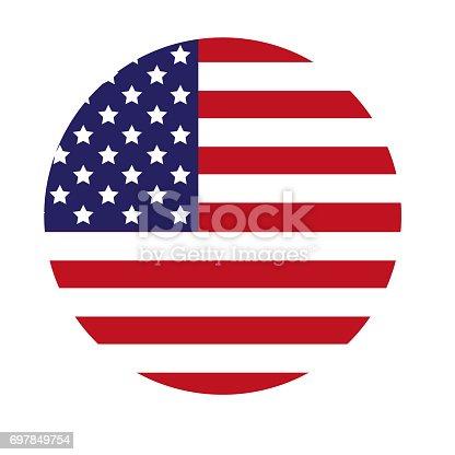 istock USA Flag Round Icon 697849754